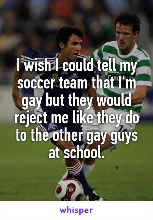 I wish I could tell my soccer team that I'm gay but they would reject me like they do to the other gay guys at school.