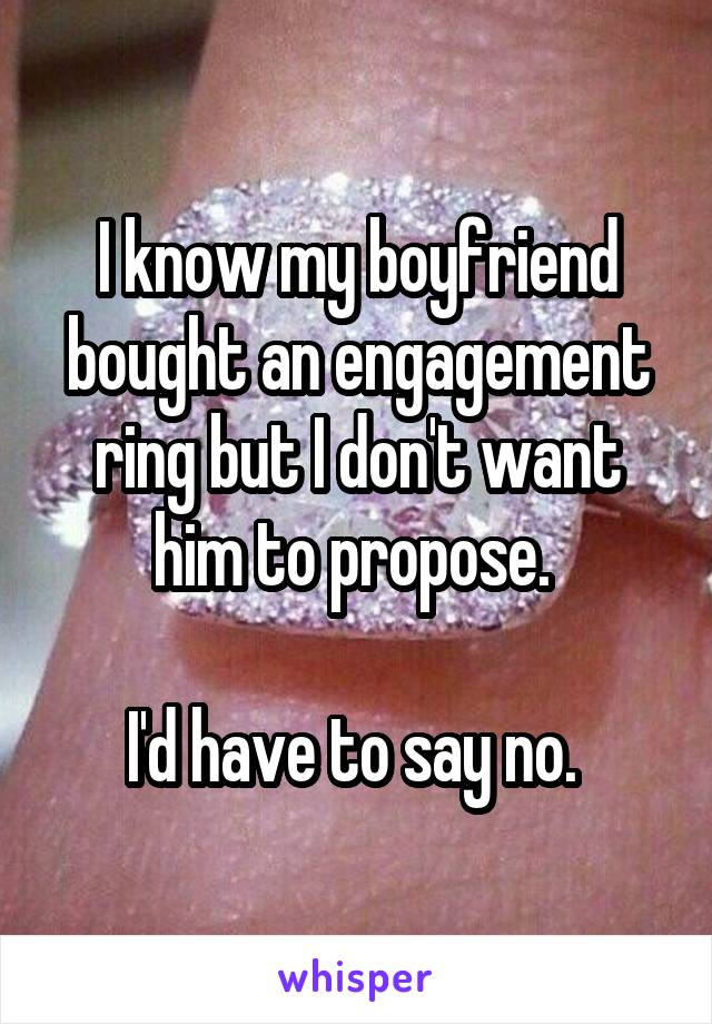 I know my boyfriend bought an engagement ring but I don't want him to propose.   I'd have to say no.