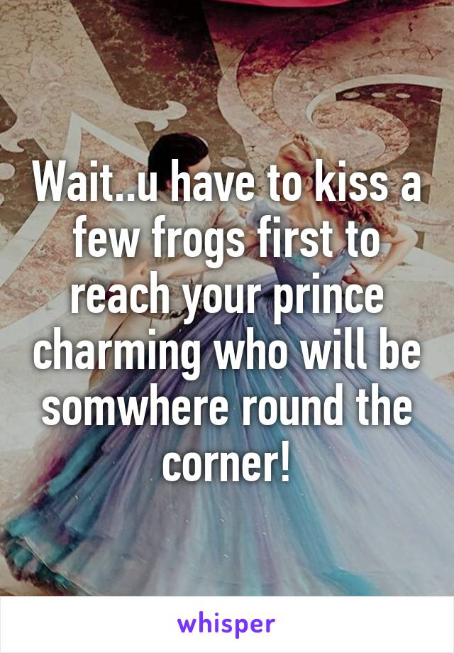 Wait..u have to kiss a few frogs first to reach your prince charming who will be somwhere round the corner!