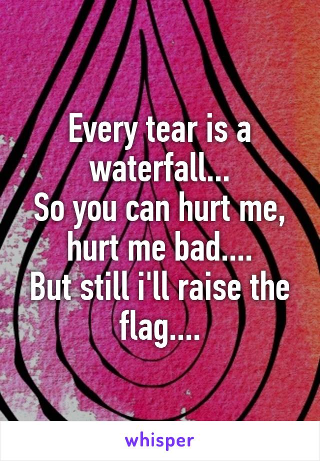 Every tear is a waterfall... So you can hurt me, hurt me bad.... But still i'll raise the flag....