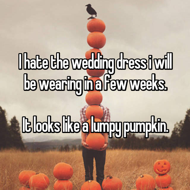 I hate the wedding dress i will be wearing in a few weeks.  It looks like a lumpy pumpkin.