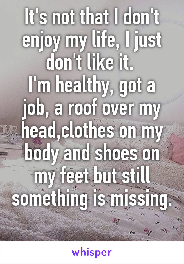 It's not that I don't enjoy my life, I just don't like it.  I'm healthy, got a job, a roof over my head,clothes on my body and shoes on my feet but still something is missing.