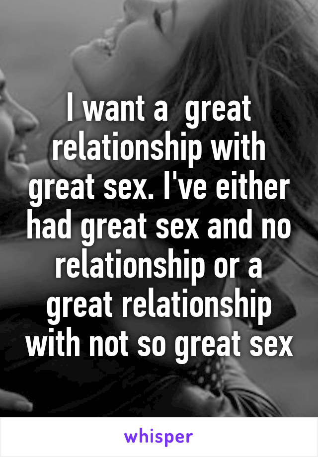 Great sex but no relationship