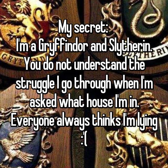 My secret:  I'm a Gryffindor and Slytherin. You do not understand the struggle I go through when I'm asked what house I'm in. Everyone always thinks I'm lying :'(