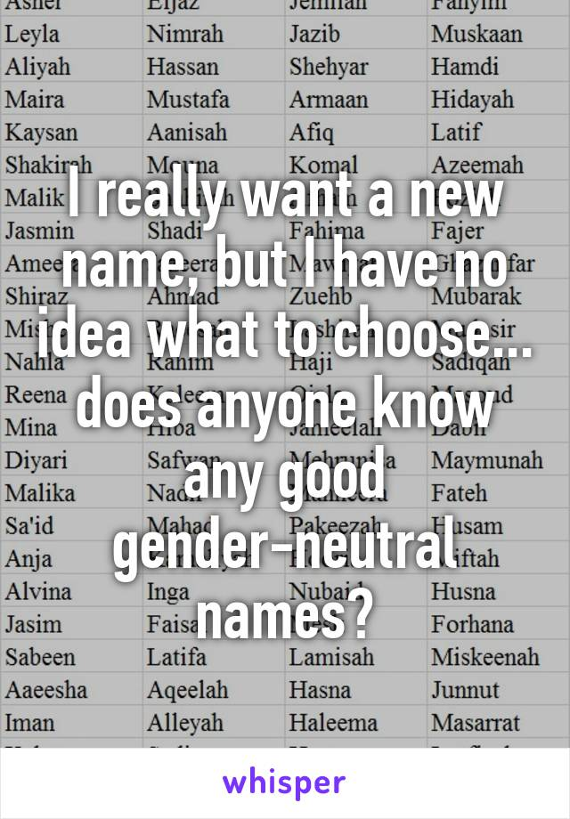 I really want a new name, but I have no idea what to choose... does anyone know any good gender-neutral names?