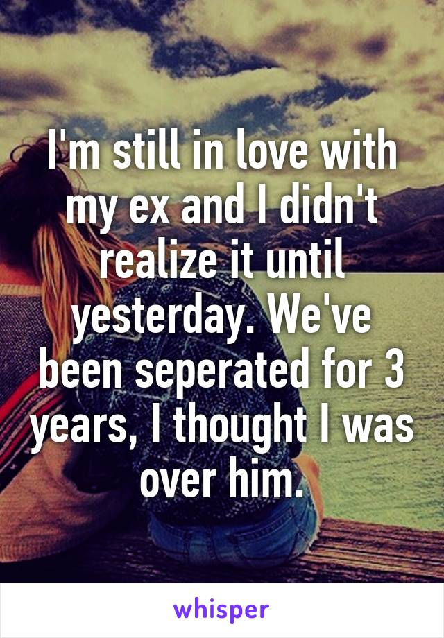 I'm still in love with my ex and I didn't realize it until yesterday. We've been seperated for 3 years, I thought I was over him.