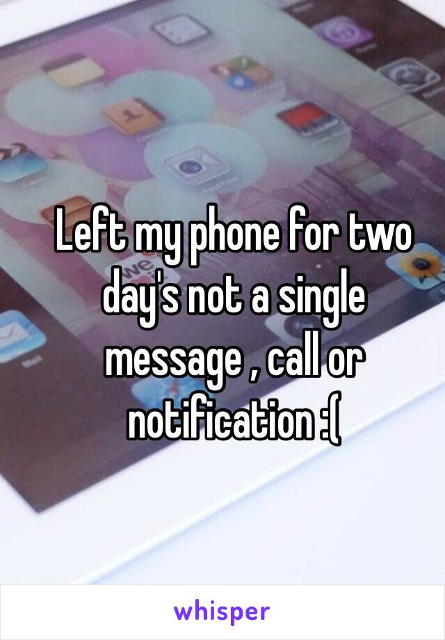 Left my phone for two day's not a single message , call or notification :(
