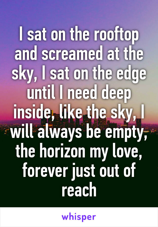 I sat on the rooftop and screamed at the sky, I sat on the edge until I need deep inside, like the sky, I will always be empty, the horizon my love, forever just out of reach