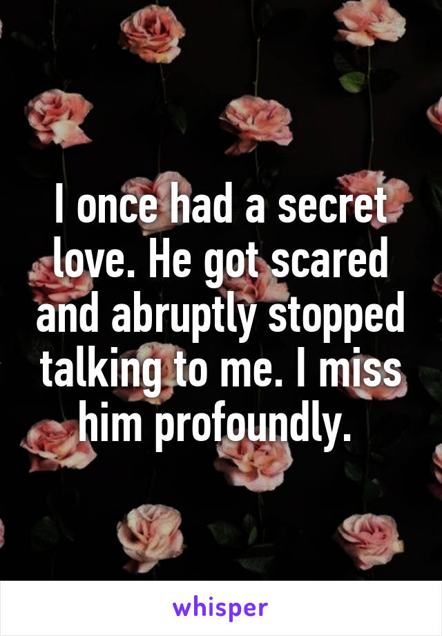 I once had a secret love. He got scared and abruptly stopped talking to me. I miss him profoundly.
