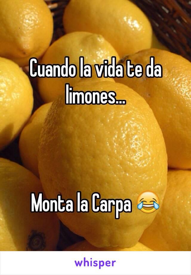 Cuando la vida te da limones...    Monta la Carpa 😂