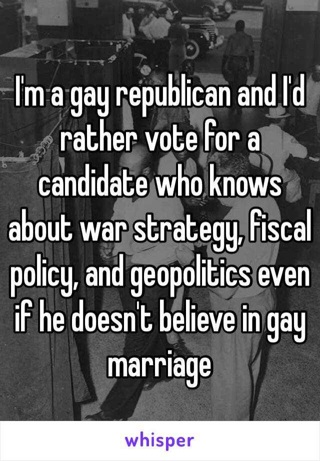 I'm a gay republican and I'd rather vote for a candidate who knows about war strategy, fiscal policy, and geopolitics even if he doesn't believe in gay marriage