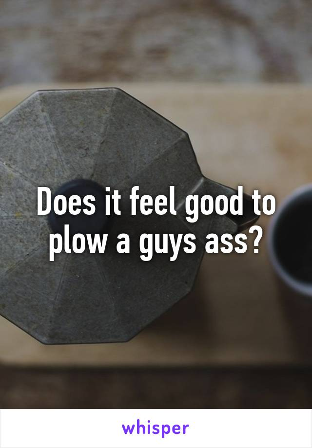 Does it feel good to plow a guys ass?