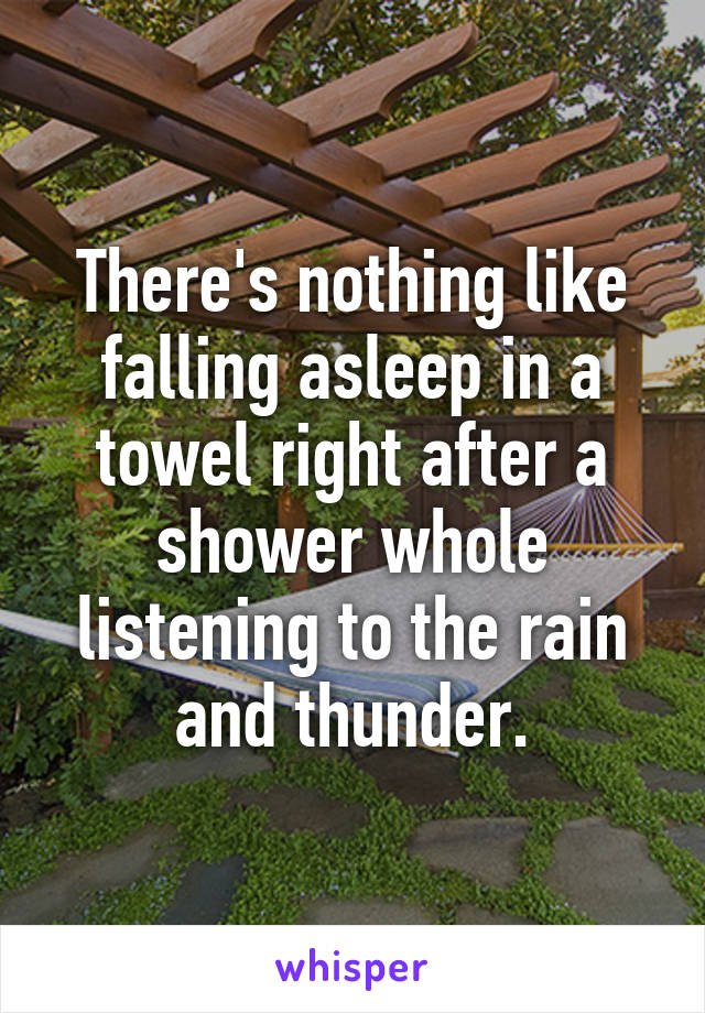 There's nothing like falling asleep in a towel right after a shower whole listening to the rain and thunder.
