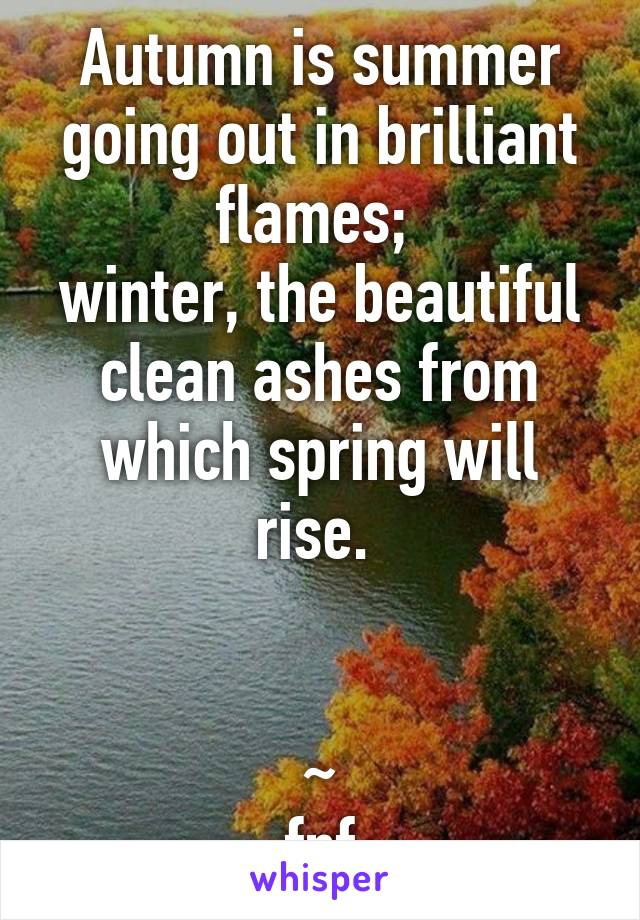 Autumn is summer going out in brilliant flames;  winter, the beautiful clean ashes from which spring will rise.    ~ fnf