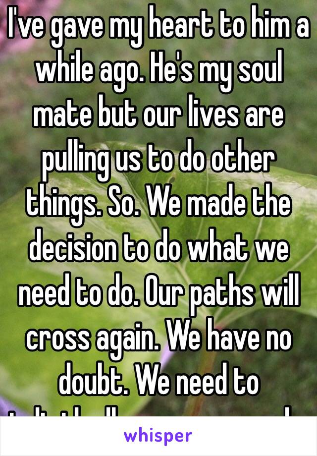 I've gave my heart to him a while ago. He's my soul mate but our lives are pulling us to do other things. So. We made the decision to do what we need to do. Our paths will cross again. We have no doubt. We need to individually grow our souls.