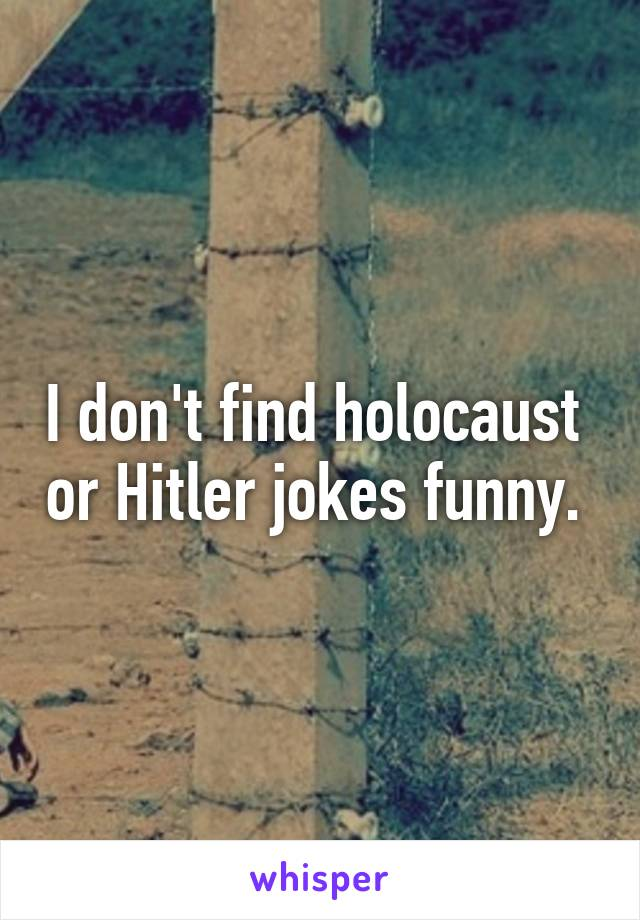 I don't find holocaust  or Hitler jokes funny.
