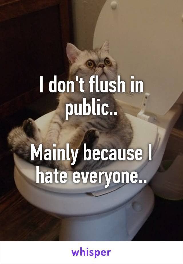 I don't flush in public..  Mainly because I hate everyone..