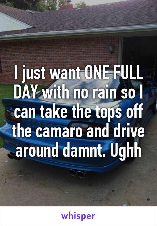 I just want ONE FULL DAY with no rain so I can take the tops off the camaro and drive around damnt. Ughh