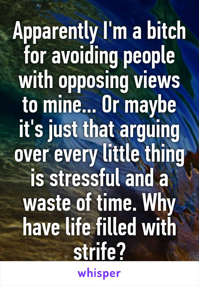 Apparently I'm a bitch for avoiding people with opposing views to mine... Or maybe it's just that arguing over every little thing is stressful and a waste of time. Why have life filled with strife?