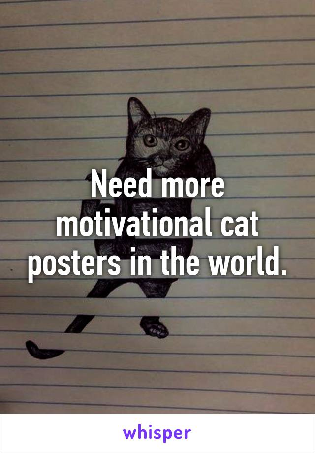 Need more motivational cat posters in the world.