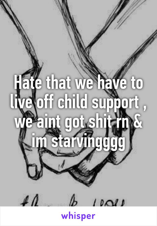 Hate that we have to live off child support , we aint got shit rn & im starvingggg