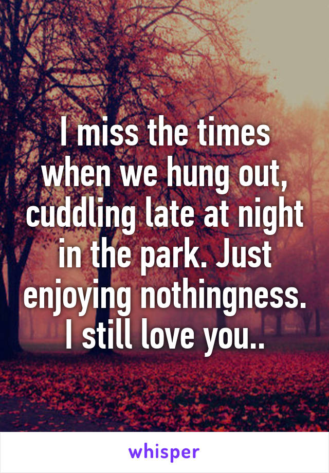 I miss the times when we hung out, cuddling late at night in the park. Just enjoying nothingness. I still love you..