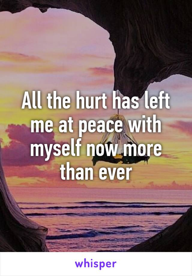 All the hurt has left me at peace with myself now more than ever