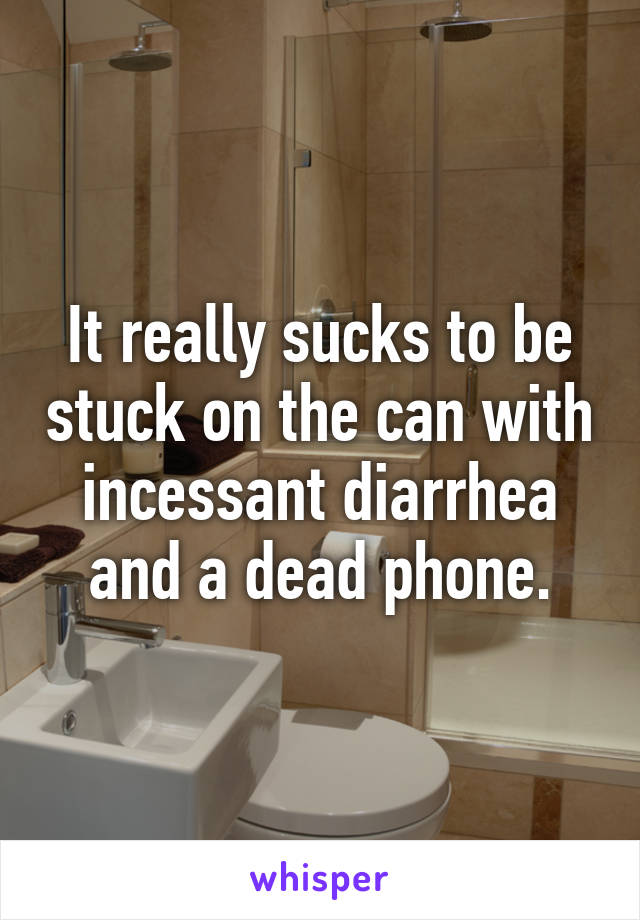 It really sucks to be stuck on the can with incessant diarrhea and a dead phone.