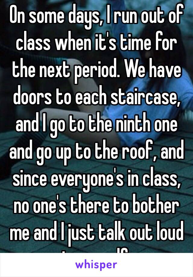 On some days, I run out of class when it's time for the next period. We have doors to each staircase, and I go to the ninth one and go up to the roof, and since everyone's in class, no one's there to bother me and I just talk out loud to myself.