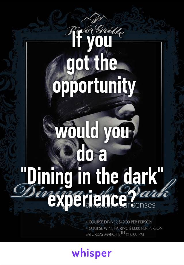 """If you got the  opportunity  would you do a """"Dining in the dark"""" experience?"""