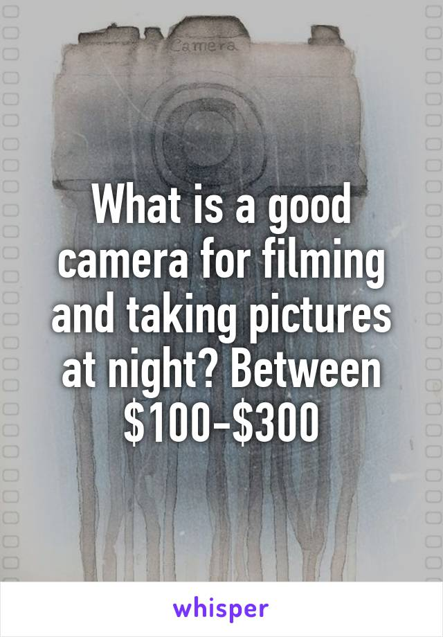 What is a good camera for filming and taking pictures at night? Between $100-$300