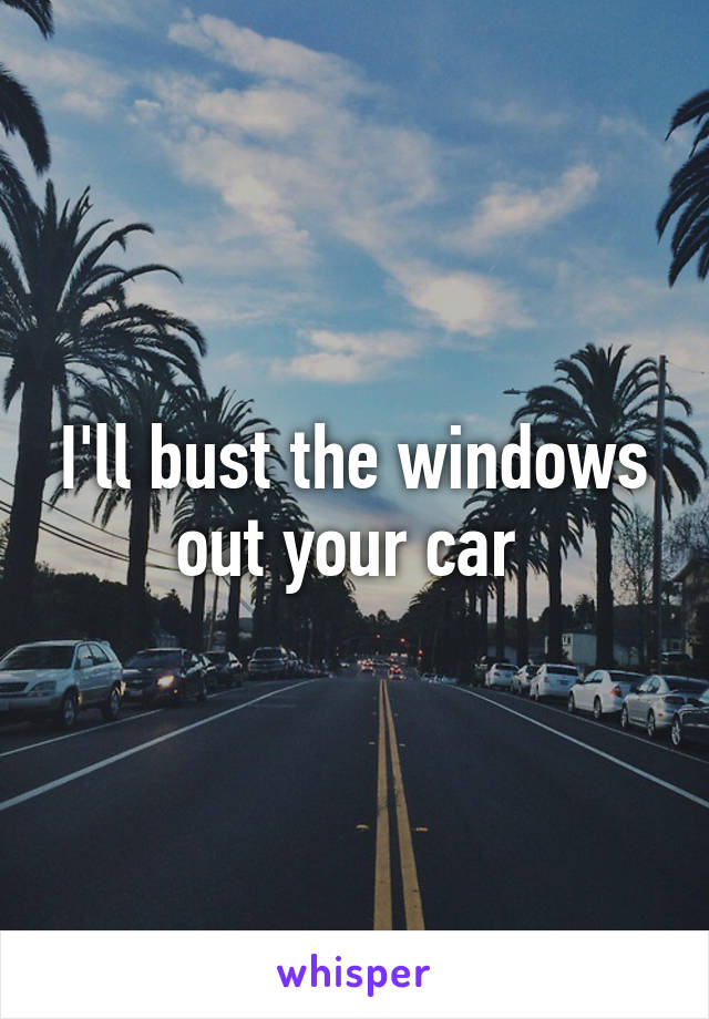 I'll bust the windows out your car