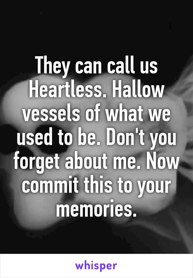 They can call us Heartless. Hallow vessels of what we used to be. Don't you forget about me. Now commit this to your memories.