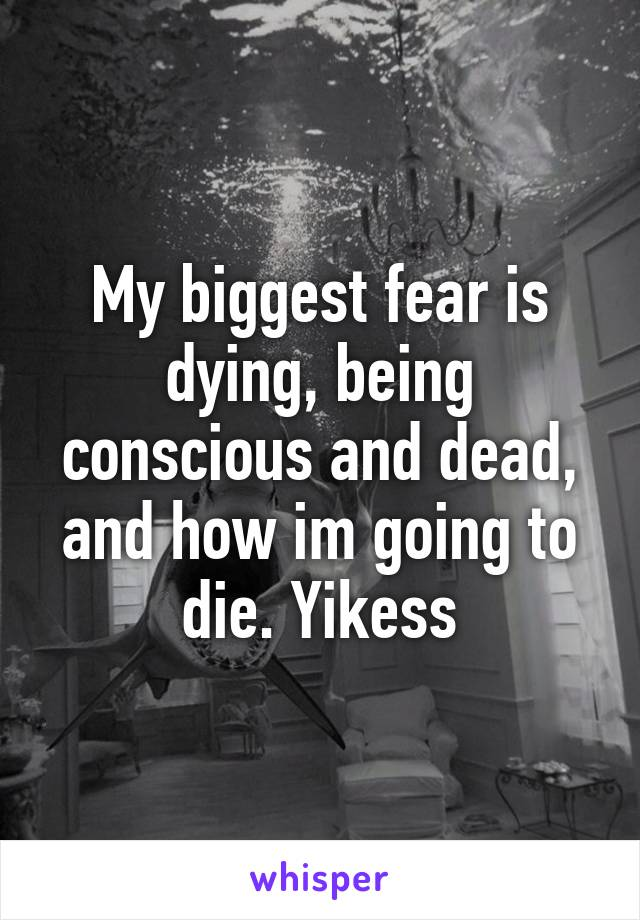 My biggest fear is dying, being conscious and dead, and how im going to die. Yikess