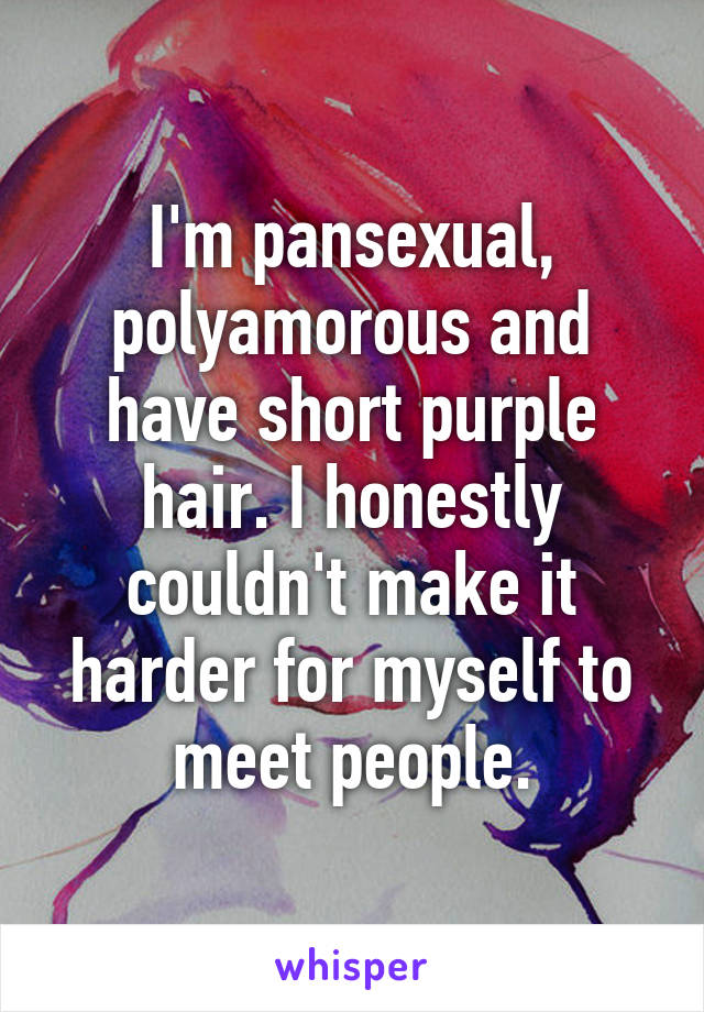I'm pansexual, polyamorous and have short purple hair. I honestly couldn't make it harder for myself to meet people.
