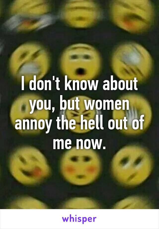 I don't know about you, but women annoy the hell out of me now.
