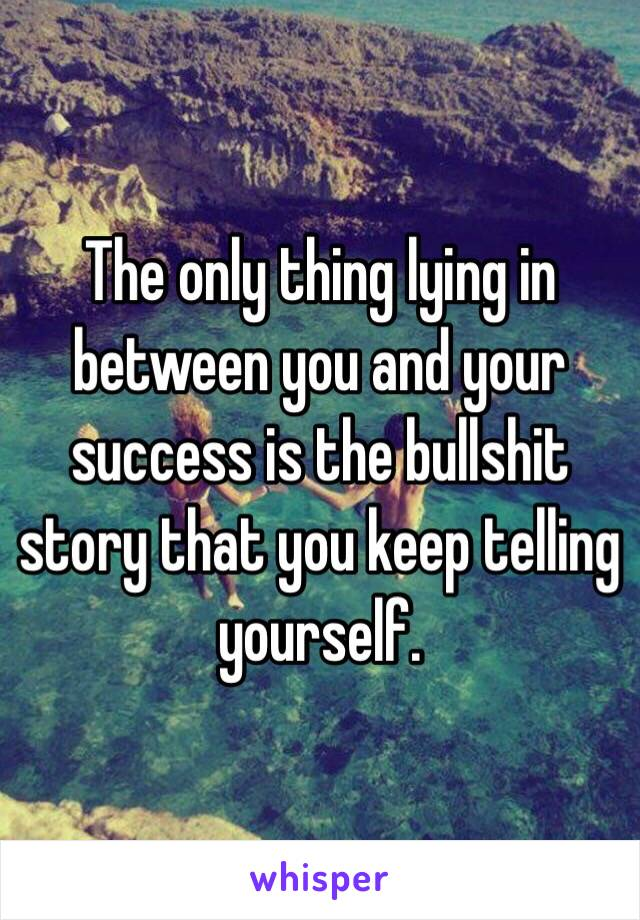 The only thing lying in between you and your success is the bullshit story that you keep telling yourself.