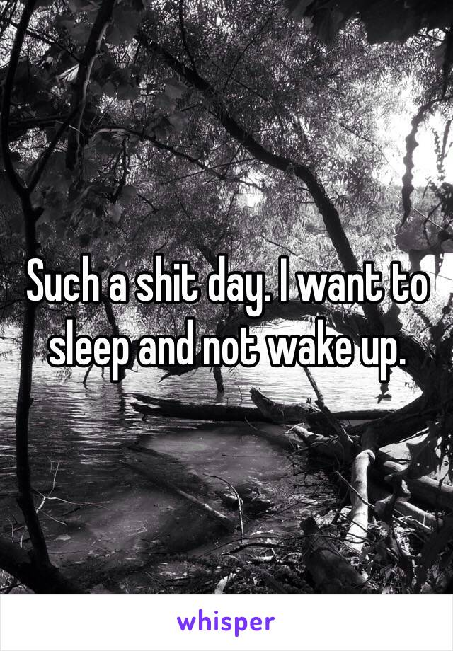 Such a shit day. I want to sleep and not wake up.