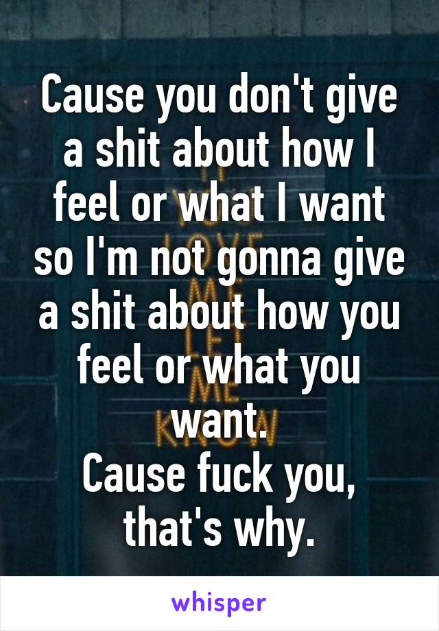 Cause you don't give a shit about how I feel or what I want so I'm not gonna give a shit about how you feel or what you want. Cause fuck you, that's why.