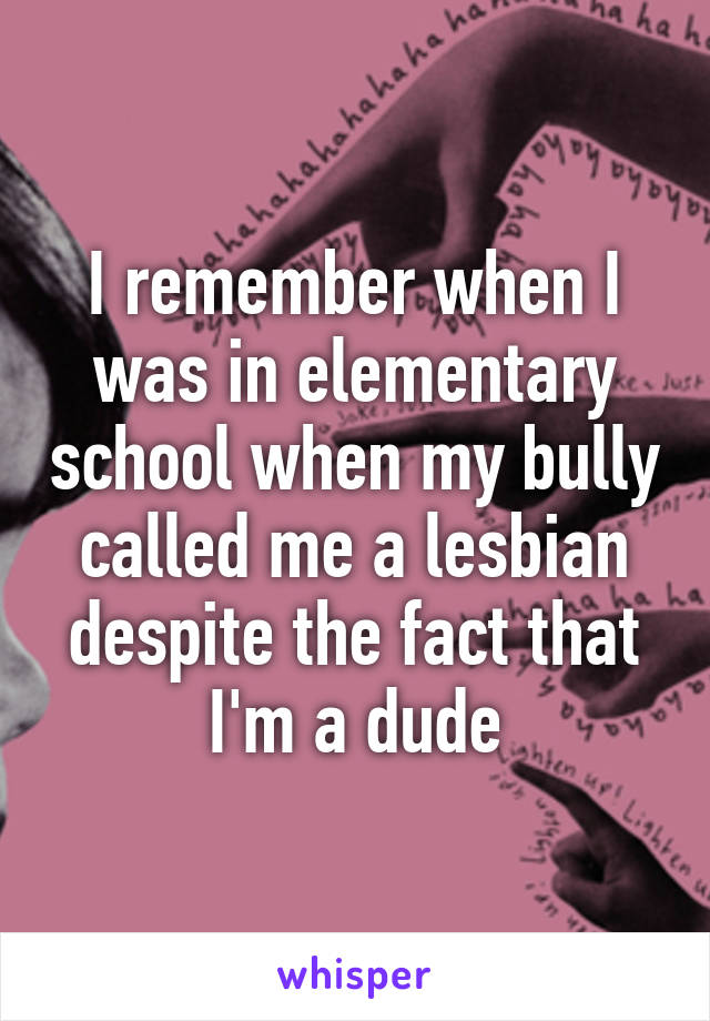 I remember when I was in elementary school when my bully called me a lesbian despite the fact that I'm a dude