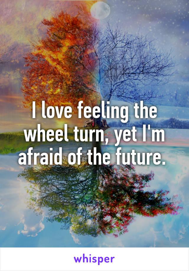 I love feeling the wheel turn, yet I'm afraid of the future.
