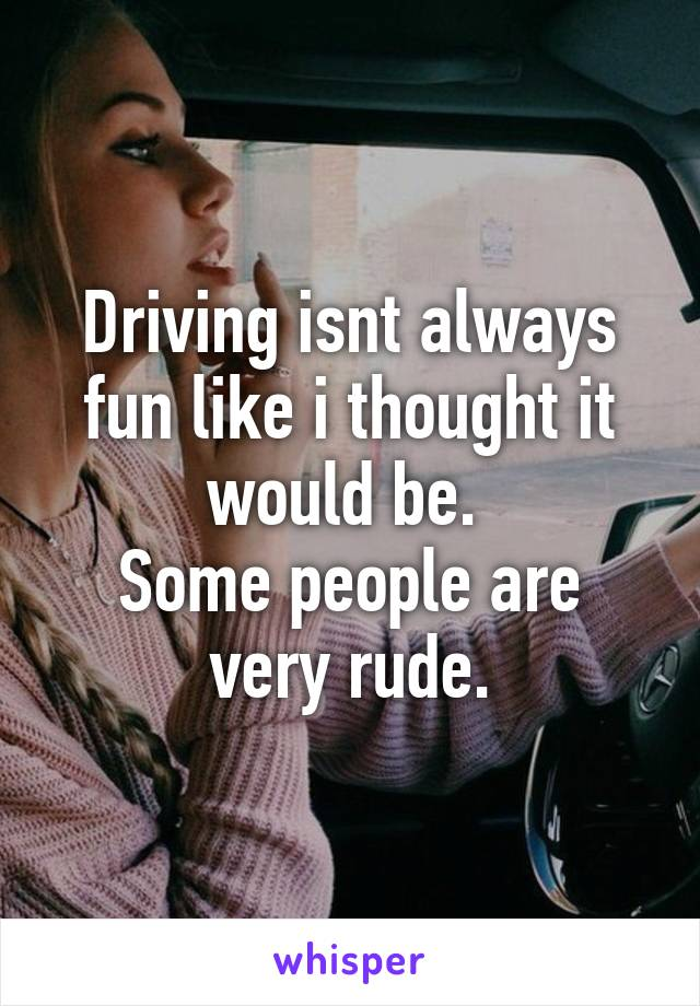 Driving isnt always fun like i thought it would be.  Some people are very rude.