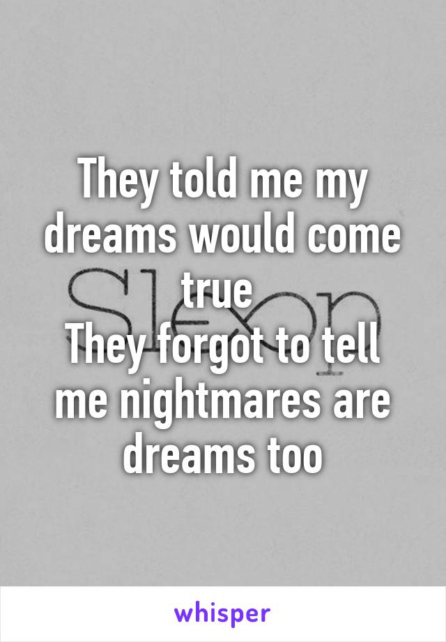 They told me my dreams would come true  They forgot to tell me nightmares are dreams too