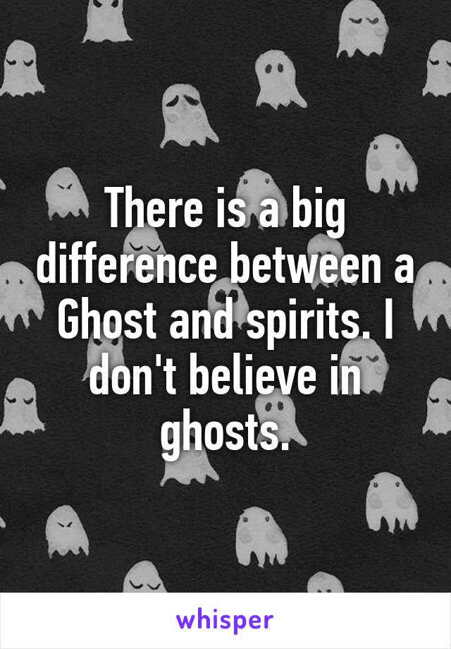 There is a big difference between a Ghost and spirits. I don't believe in ghosts.