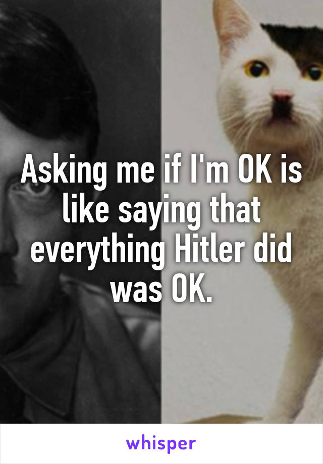 Asking me if I'm OK is like saying that everything Hitler did was OK.