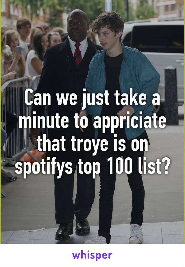 Can we just take a minute to appriciate that troye is on spotifys top 100 list?