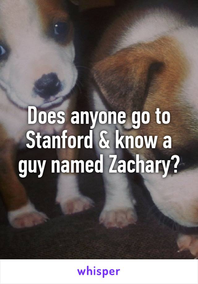 Does anyone go to Stanford & know a guy named Zachary?