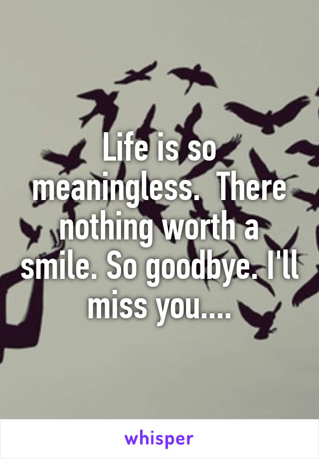 Life is so meaningless.  There nothing worth a smile. So goodbye. I'll miss you....