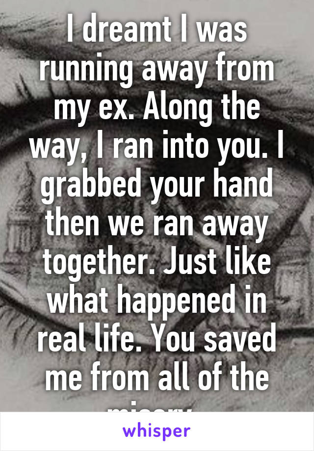 I dreamt I was running away from my ex. Along the way, I ran into you. I grabbed your hand then we ran away together. Just like what happened in real life. You saved me from all of the misery.