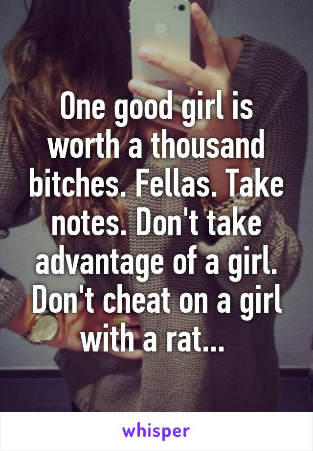 One good girl is worth a thousand bitches. Fellas. Take notes. Don't take advantage of a girl. Don't cheat on a girl with a rat...
